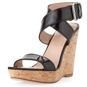 Stuart Weitzman black patent leather cork wedges